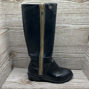 Stuart Weitzman black faux leather zip up boots